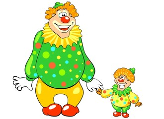 Funny big and little clown. Vector.