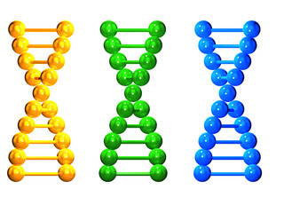 3D yellow, green and blue  isolated  DNA chains