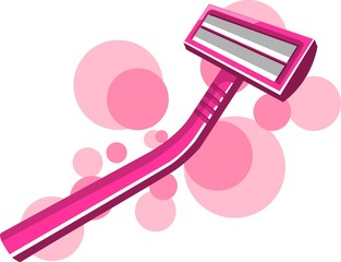 Illustration of refreshing shaving razor with colour handle