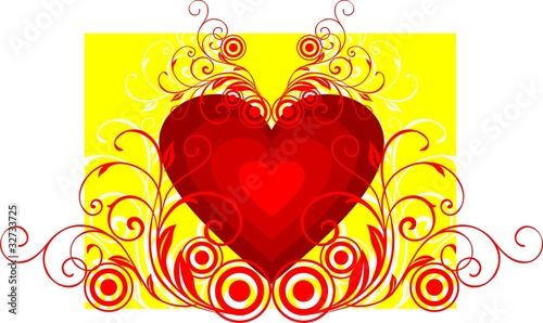Illustration of abstract colourful floral heart