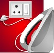 Illustration of iron box with plug in a socket