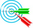 Illustration of blue dart target aim and arrow