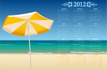 Vector calendar 2012 with tropic beach