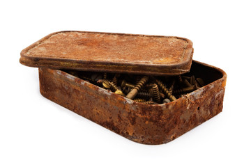 Rusty aged tin of screws over white