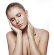 woman having migraine on white background