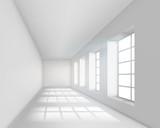 Empty white interior. Vector illustration.