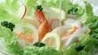 海老とホタテのサラダにドレッシング