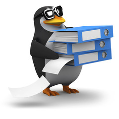 3d Penguin is very busy with his filing