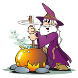 Purple Wizard with Cauldron