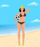 active girl with ball on beach