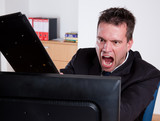 Office rage series.Businessman slamming monitor with keyboard poster
