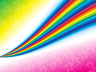 abstract rainbow background with floral