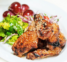 grilled chicken,chick, with sesame seeds and grapes