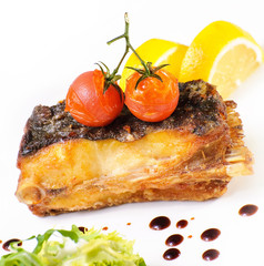grilled fish with cherry