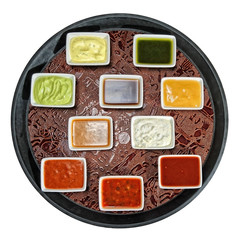 tray dipping sauces,cocktail sauces in sauce-boats tray