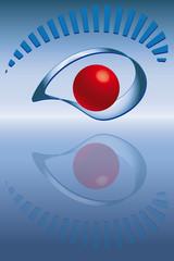 Symbol Auge2 Spiegelung blau