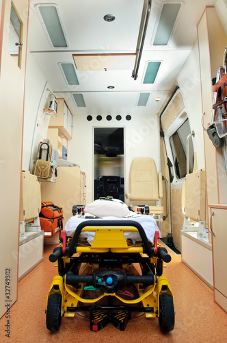 Inside of a ambulance
