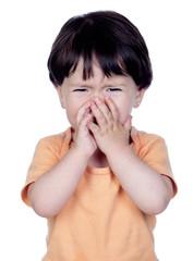 Sad baby girl crying