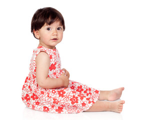 Adorable baby girl with floral dress