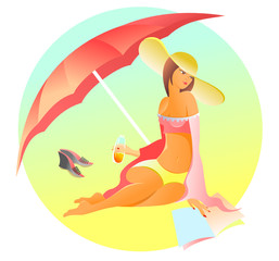 The beautiful brunette on a beach under an umbrella