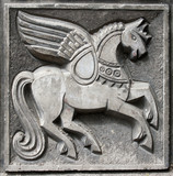 old bas-relief of fairytale winged horse poster