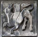 old bas-relief of fairytale wolf poster