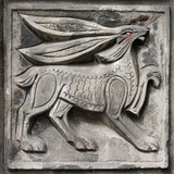 old bas-relief of fairytale hare poster