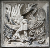 old bas-relief of fairytale firebird poster