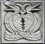 old bas-relief of fairytale two birds poster