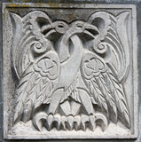 old bas-relief of fairytale two eagles poster