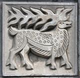 old bas-relief of fairytale elk poster