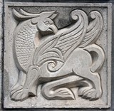 old bas-relief of fairytale winged lion poster