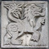 old bas-relief of fairytale lion poster