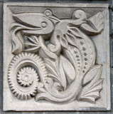 old bas-relief of fairytale crocodile poster