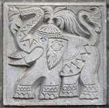 old bas-relief of fairytale elephant poster