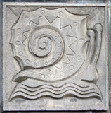 old bas-relief of fairytale snail poster