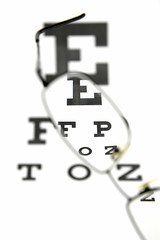Eyeglasses and eye test chart