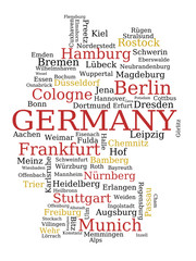Germany map made of city names