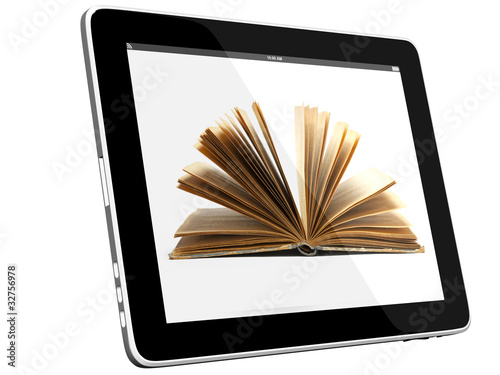canvas print picture Tablet PC Computer and book