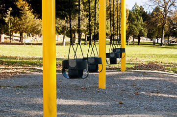 Swings for toddlers at a city park