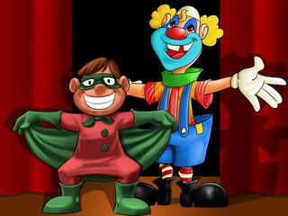 clown and mini hero