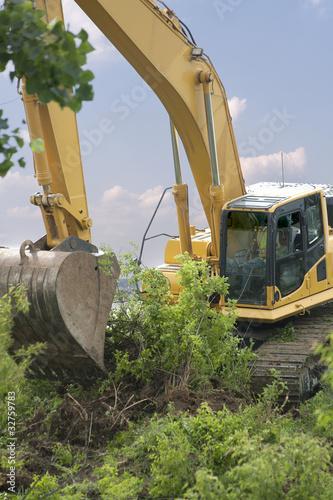 Heavy Equipment Strips Vegetation
