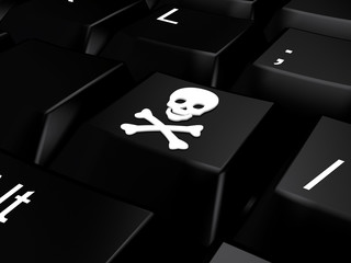 Keyboard with skull and bones