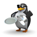 3d Penguin provides silver service on a platter poster