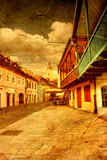 old street in Zagreb - picture in artistic retro style poster