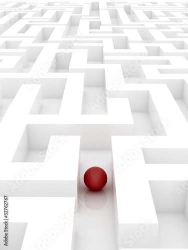 red sphere in an abstract maze