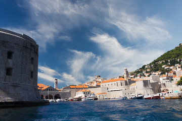 view of old port in Dubrovnik, Croatia
