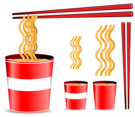 set of red noodle cup with chopsticks