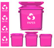 set of vector pink recycle garbage
