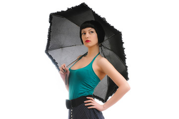 pretty young girl with umbrella posing